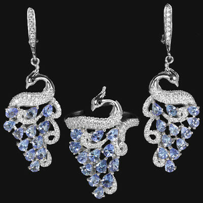 Natural blue tanzanite & white cubic zirconia sterling 925 silver peacock set