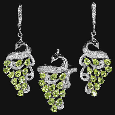 Natural green peridot & white cubic zirconia sterling 925 silver peacock set