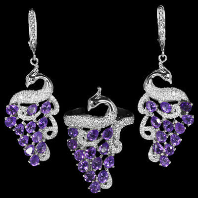 Natural purple amethyst & white cubic zirconia sterling 925 silver peacock set