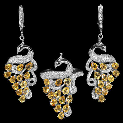 Natural yellow citrine & white cubic zirconia sterling 925 silver peacock set