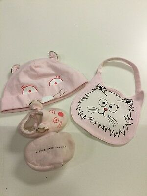 little marc jacobs baby girl hat and shoes set with bib.