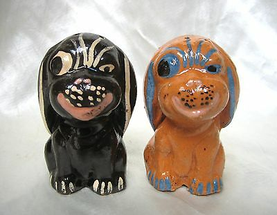 Vintage 1940's Mexican Pottery Tlaquepaque Puppy Dog Salt & Pepper Shakers