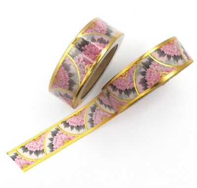 Pink Gold Foil Washi Tape Scalloped Floral Deco Flower Gilded Crescent 15mmx10m