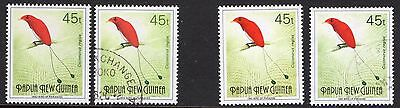 PNG 1992 45t BIRD OF PARADISE 1992 AND 1993 AT BASE MNH AND USED