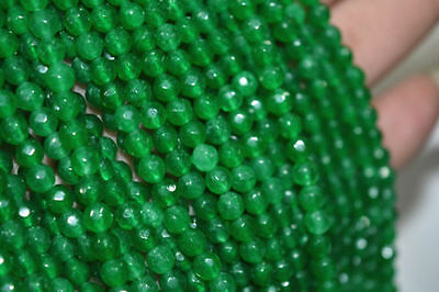 "New 6mm Natural Emerald Faceted Loose Beads Gemstone 15""AAA"