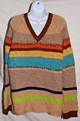 Jcrew 100 Lambs Wool Multi Colored Striped V Neck Sweater Mens