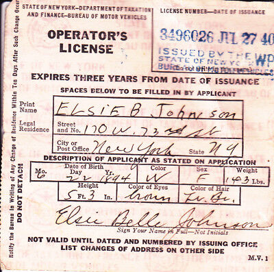 1940 New York State Driver's License - operator's
