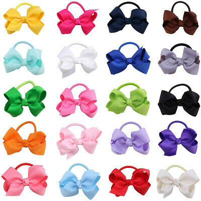 20pc Kid Girls hair bow ponytails band bobbles Tie Rope ponio grossgrain ribbon