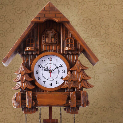 Vintage Cuckoo Clock Black Forest Quartz Swing Wood Wall Clock Handmade Clock#
