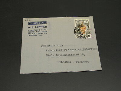 Nigeria 1955 aerogramme air letter to Finland pin holes*7728
