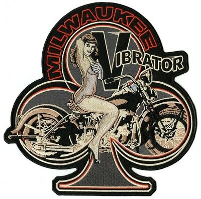 """Vintage Pin Up Girl Milwaukee Vibrator Large Harley Club Embroidered Patch 10.5"""""""