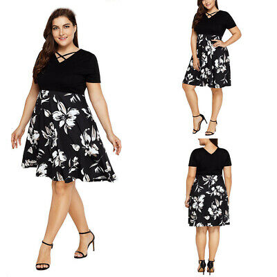 94aa6fcb984 US Plus Size Women Floral Long Sleeve Swing Dress Rockabilly Evening Party  Dress