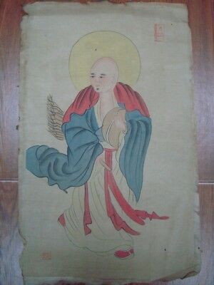 Very Long Old Chinese Scroll Fine Painting Monk Buddha Image Marks