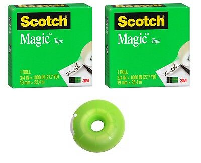 "3M Scotch Magic Tape 2 ROLLS with Donut Dispenser .75"" x 1000"" EACH Colors Vary"