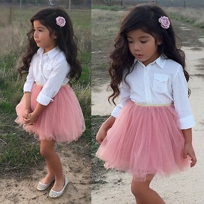 Kids Baby Girl Clothes Dress T Shirt Blouse Top Ruffle Lace Tutu Skirt Outfits p
