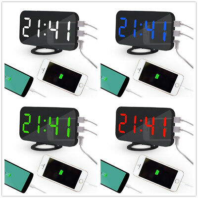 LED Digital Alarm Clock With USB PorLEt For Phone Charger Touch-Activited Snooze