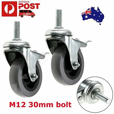 "2pcs 3"" Heavy Duty PU Swivel Castor Wheels With Brake 75mm Load 50KG Bearing"