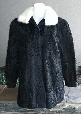 High Quality Vintage Persian Ashtrakhan Lamb Fur Coat with Mink Collar,Pre-owned