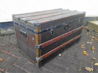 Vintage steamer trunk banded case Antique Chest Flat Top coffee table seat POST