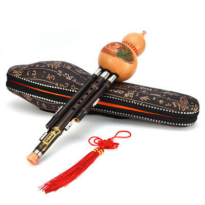 X1 Bamboo Handmade Chinese Hulusi Ethnic Gourd Flute Woodwind Bb C Key With Case
