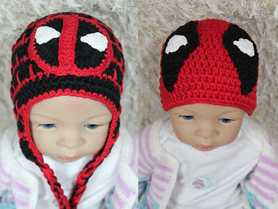 New Handmade Knit Crochet Deadpool Hat Baby Child Hat Cap Newborn Photo Prop Hat