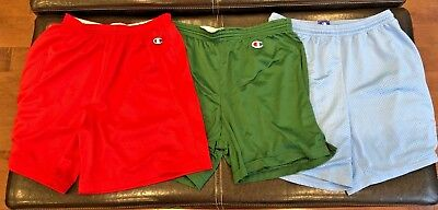 Vintage Champion Gym Mesh Shorts Lot of 3 Elastic waist band Fits 28-34