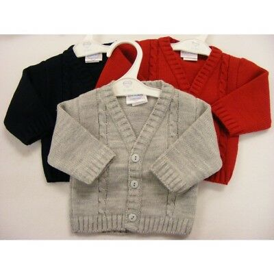 BABY TODDLER  BOY SMART SPANISH STYLE V NECK CABLE CARDIGAN RED BLUE GREY 3-24m