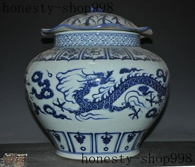 antique Chinese palace dynasty Blue&white porcelain glaze Dragon pot Tanks Crock