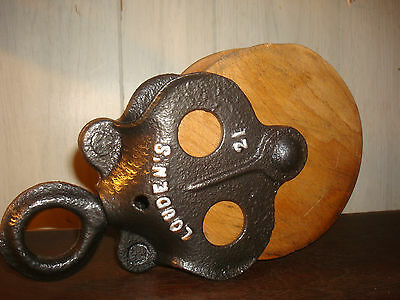 Vintage Cast Iron Lounden's 21 Warranted22 Antique Barn Pulley Farm Rustic Tool
