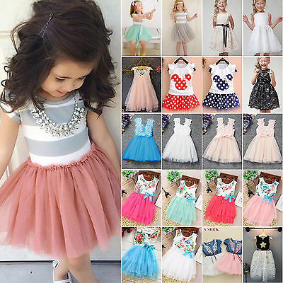 Flower Girl Princess Dress Kid Baby Party Wedding Pageant Tutu Dresses Clothes