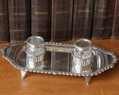 Silver Cut Glass Double Inkwell Desk Pen Stand Edwardian William Hutton 1907