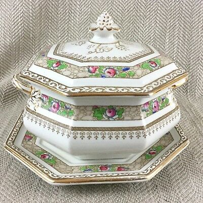 Art Deco Lidded Tureen & Stand Mappin & Webb Rare Pattern Hand Painted 3356