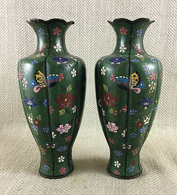 Antique Cloisonne Vases Mirror Pair 19th c Japanese Enamel Enameled