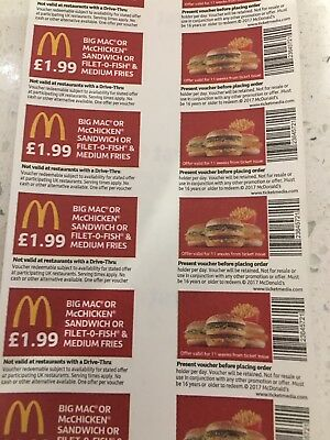 40 x Mcdonalds Food Tickets (use All Round The Country )limited Amount Left