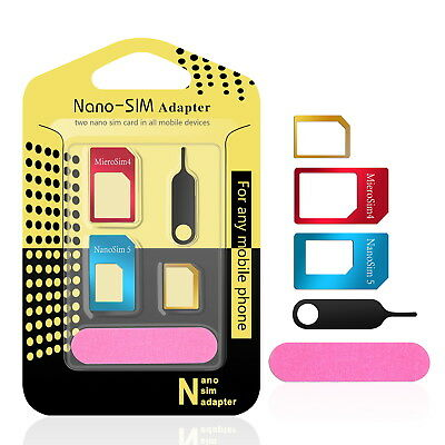 SIM Card Adapter Made Of Metal /5-in-1 Nano Micro - Standard with Tray Open Need