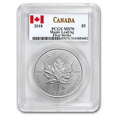 2018 Canada 1 oz Silver Maple Leaf MS-70 PCGS (First Strike) - SKU#161355
