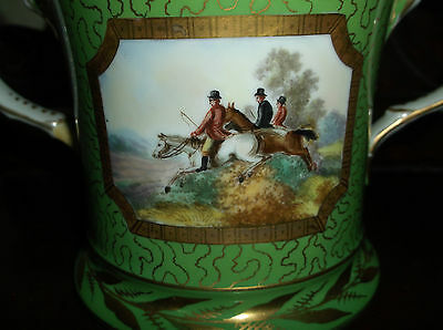Rare Antique 19Th Century Loving Cup/mug With A Hand Painted Hunting Scene