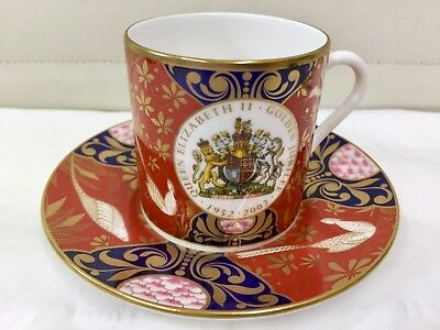 Royal Worcester Coffee Cup and Saucer Commemorative Queen Elizabeth