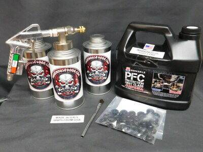 Gallon PFC Rust Proof Pro Undercoating Spray Gun Kit 3 Cans 100 Plugs, 360* wand