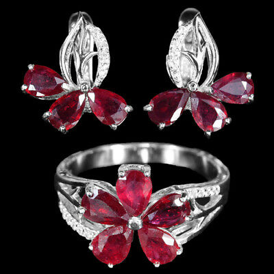 Genuine pigeon blood red ruby pear, white cubic zirconia sterling 925 silver set