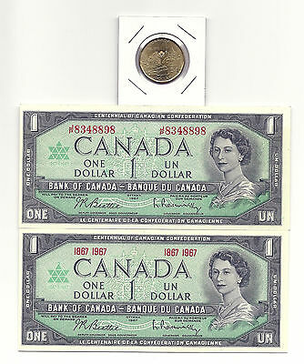 2 x 1967 CANADA CENTENNIAL ONE DOLLAR BANK NOTES UNC/CON and 1867-2017 LOONIE