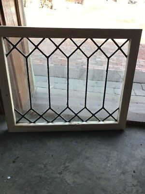 Sg 1809 Antique Leaded Glass Geometric Window 18 1/8 X 22.25