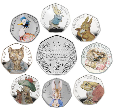 Beatrix Potter 50p Coins - both 2016 and 2017 coins & albums- From 99p