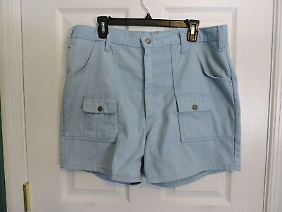 Mens Vintage 1970's Kings Road Sears Blue Shorts Scoop Patch Pockets Full Cut 38