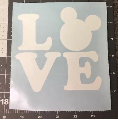 Disneyland Mickey Mouse Head LOVE Vinyl Decal Graphics Disney Window Sticker