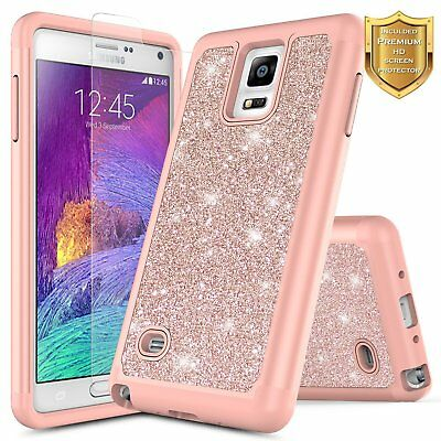 For Samsung Galaxy Note 4 Glitter Bling Slim Hybrid Case Cover +Screen Protector