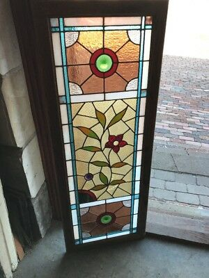 Sg 1819 Antique East Lake Floral Transom Window 18 X 47.5