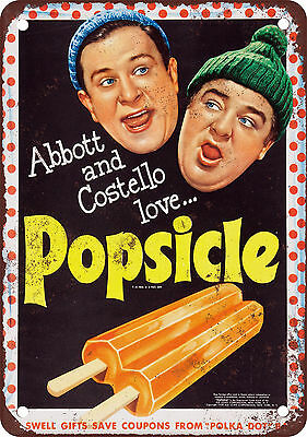 """7"""" x 10"""" Metal Sign - 1954 Abbott and Costello for Popsicle - Vintage Look Repro"""
