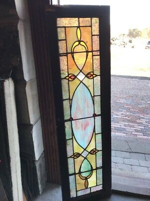 SG 1821 Antique Stainglass Transom Window 16 X 56