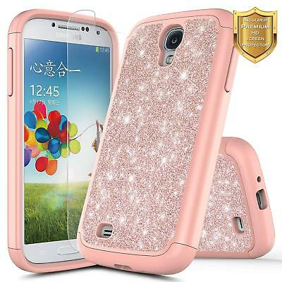 For Samsung Galaxy S4 | Glitter Bling Slim Hybrid Cover Case + Screen Protector